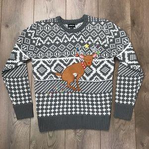 Carbon | Christmas Reindeer Lights Sweater Medium